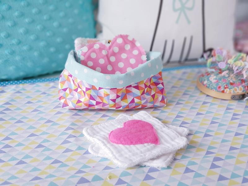 Tuto couture débutant - lilaxel - corbeille en tissu pour lingettes lavables